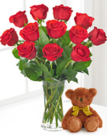 Red Roses Vase With Teddy Bear