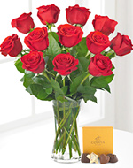 Dozen Red Roses with Chocolates