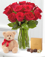 Dozen Red Roses, Bear &amp; Chocolates