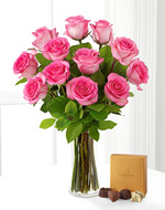 One Dozen Pink Roses With Chocolates
