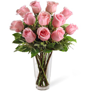 FTD One Dozen Pink Roses Vase