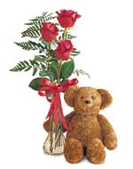 Teddy Bear and Roses Bud Vase