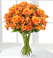 Orange Burst Bouquet wiht Vase